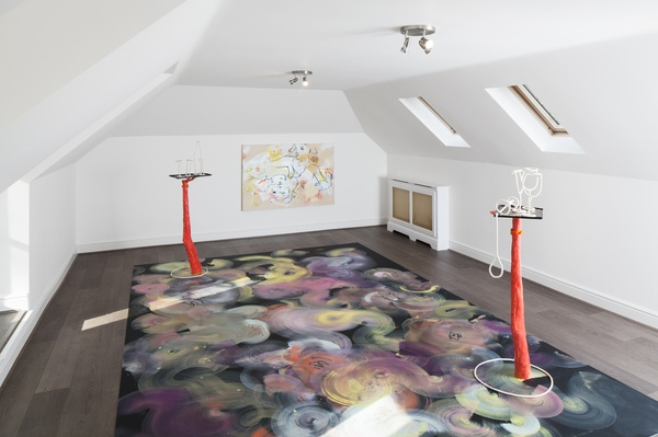 France-Lise McGurn, Energy Flash (floor painting) and Olaz, Olay, Ulay (painting), 2016
