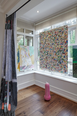Marie Jacotey (curtains), Jon Pilkington (painting on window to left), Jonathan Trayte (sculpture on floor) and Bobby Dowler (painting on window to right)